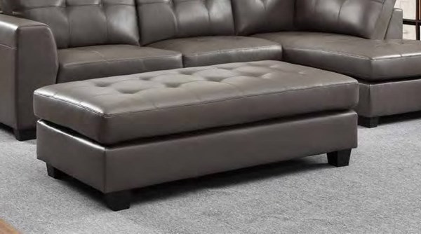 Springer Modern Grey Bonded Leather Ottoman HE-9688GY-4