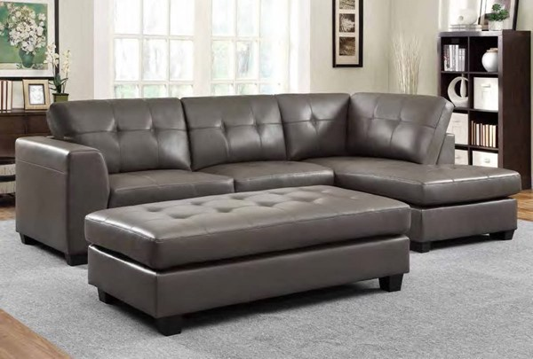 Springer Modern Grey Bonded Leather Right Side Chaise HE-9688GY-R