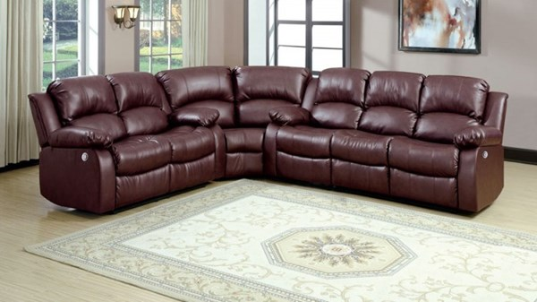 Cranley Brown Bonded Leather Power Sectional HE-9700-PW-SEC2