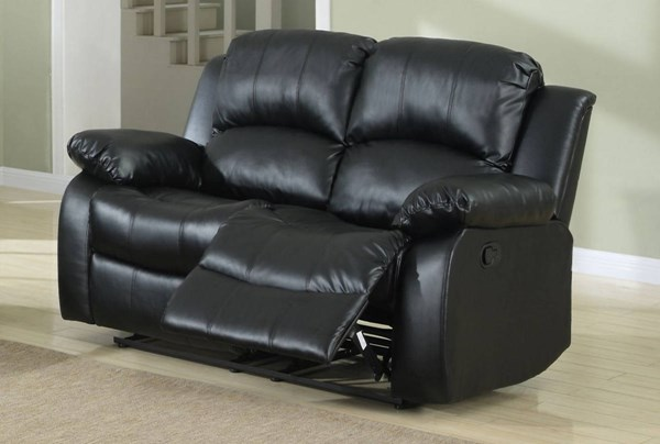 Cranley Black Bonded Leather Power Double Reclining Loveseat HE-9700BLK-2PW