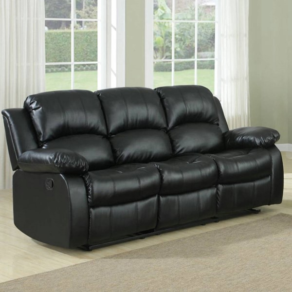 Cranley Black Wood Bonded Leather Reclining Sofa HE-9700BLK-3