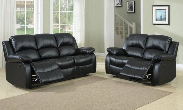 Cranley Black Bonded Leather 3pc Power Living Room Set HE-9700-PW-LR-S1