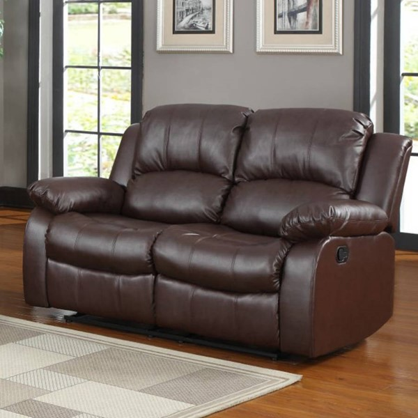 Cranley Brown Wood Bonded Leather Reclining Loveseat HE-9700BRW-2