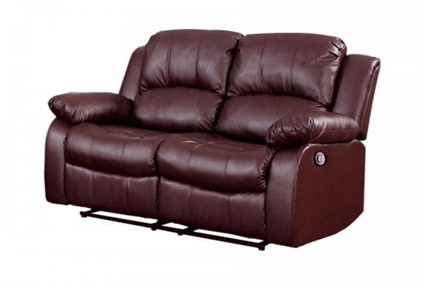 Cranley Brown Bonded Leather Power Double Reclining Loveseat HE-9700BRW-2PW