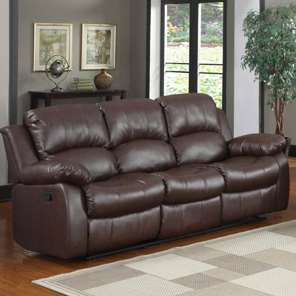 Cranley Brown Wood Bonded Leather Reclining Sofa HE-9700BRW-3