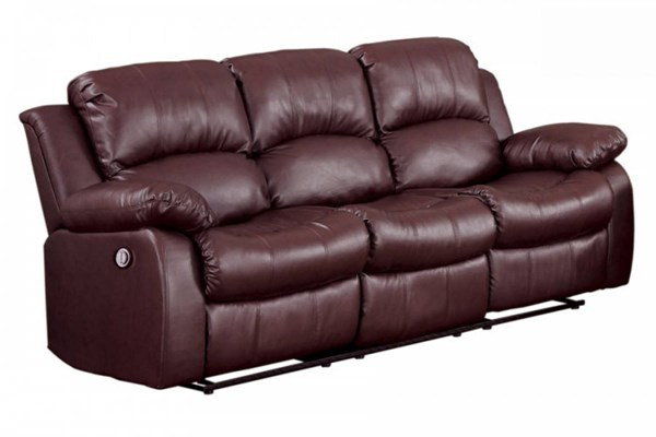 Cranley Brown Bonded Leather Power Double Reclining Sofa HE-9700BRW-3PW