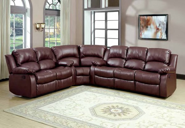 Cranley Brown Fabric Bonded Leather Sectional HE-9700BRW-SEC