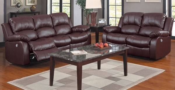 Cranley Brown Bonded Leather 3pc Power Living Room Set HE-9700-PW-LR-S2