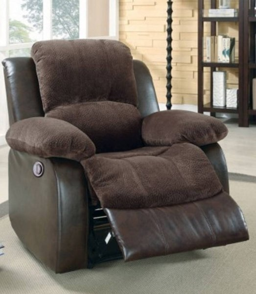 Cranley Chocolate Dark Brown Bonded Leather Power Reclining Chair HE-9700FCP-1PW