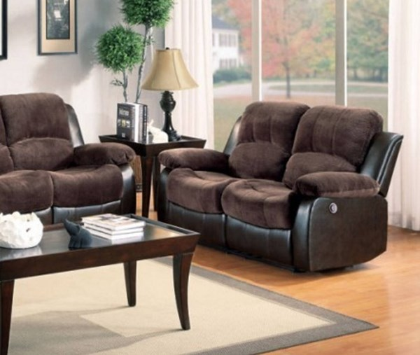 Cranley Chocolate Brown Bonded Leather Power Double Reclining Loveseat HE-9700FCP-2PW