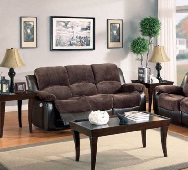 Cranley Chocolate Brown Bonded Leather Power Double Reclining Sofa HE-9700FCP-3PW