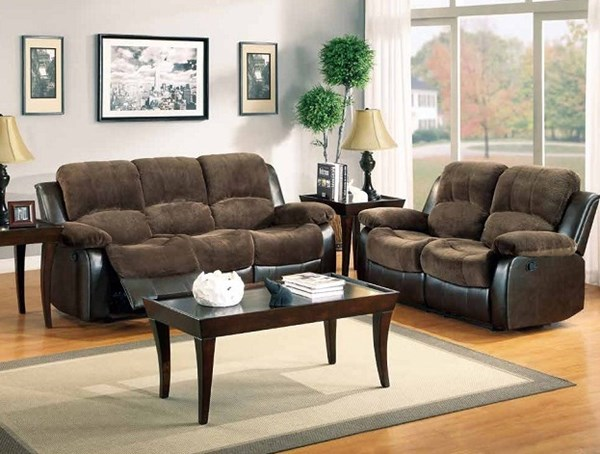 Cranley Black Brown Microfiber Vinyl Reclining Living Room Set HE-9700FCP-LR