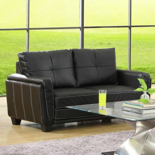 Dwyer Modern Black Wood Vinyl Cushion Back Loveseat HE-9701BLK-2