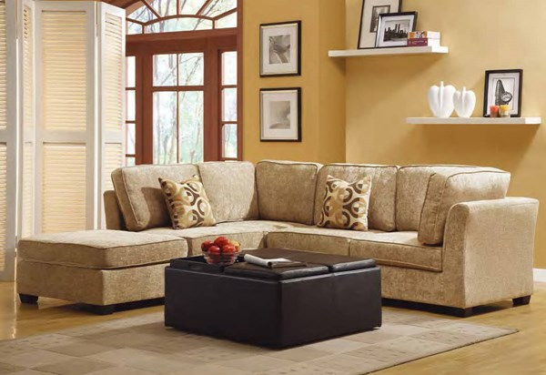 Burke Modular Brown Beige Sectional W/one Armless Chair And Ottoman HE-9709CN-set2