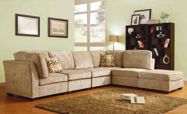 Burke Modular Brown Beige Sectional W/3 Armless Chair And Ottoman HE-9709CN-set3