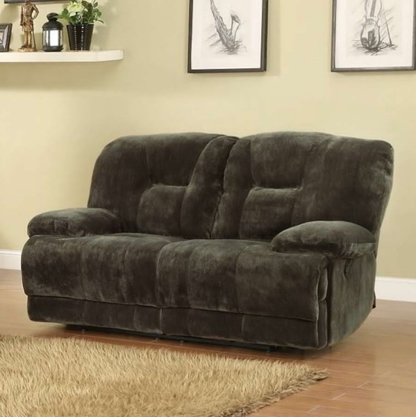 Geoffrey Chocolate Fabric Power Double Reclining Loveseat HE-9723-2PW
