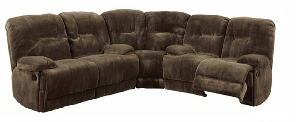 Geoffrey Chocolate Plush Microfiber Reclining Sectional HE-9723-SEC-S