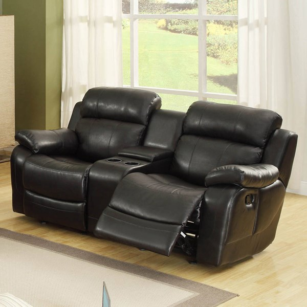 Marille Black Wood Fabric Double Glider Rocking Reclining Love Seat HE-9724BLK-2