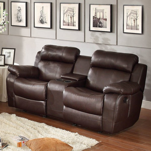 Marille Brown Wood Fabric Double Glider Reclining Love Seat w/Console HE-9724BRW-2