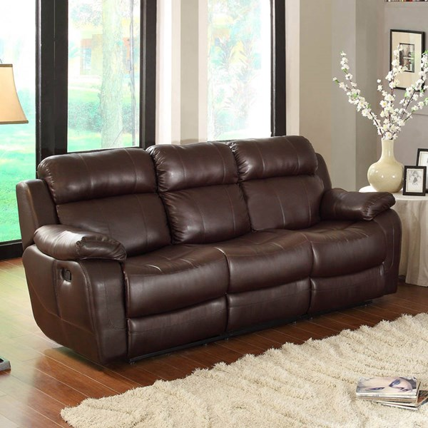 Marille Brown Wood Microfiber Double Reclining Sofa w/Cup Holders HE-9724BRW-3