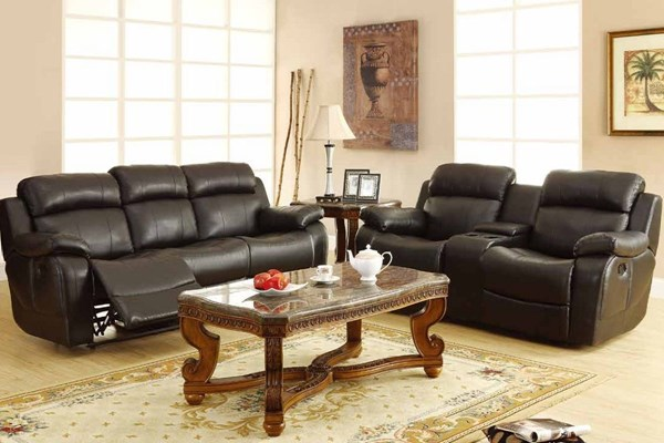 Marille Warm Brown Black Wood Polished Microfiber Reclining Loveseat HE-9724-2