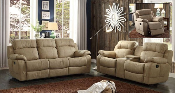 Marille Taupe Fabric 3pc Living Room Set HE-9724-LR-S4