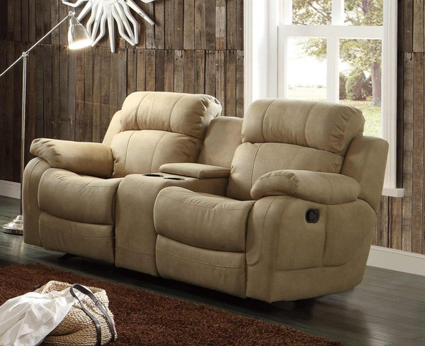 Marille Taupe Fabric Double Glider Reclining Loveseat w/Console HE-9724TPE-2