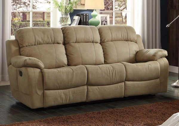Marille Taupe Fabric Double Reclining Sofa w/Drop-Down Cup Holders HE-9724TPE-3