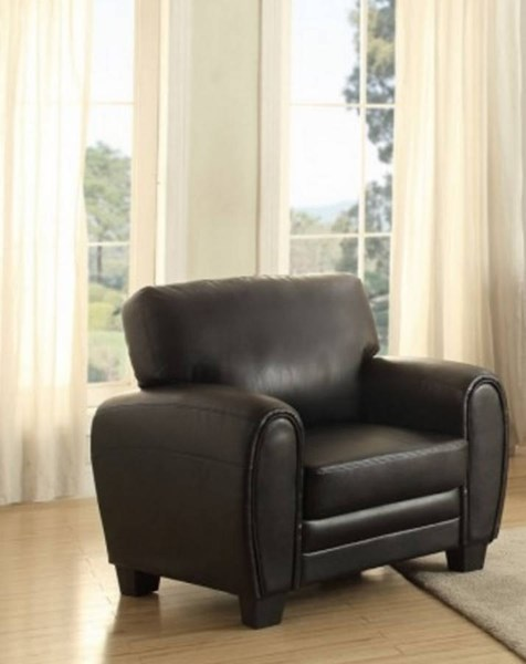 Rubin Retro Black Bonded Leather Cushion Back Chair HE-9734BK-1