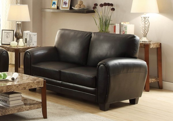 Rubin Retro Black Brown Taupe Bonded Leather Loveseats HE-9734-LS-VAR