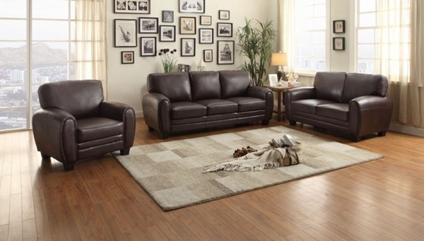 Rubin Retro Dark Brown Bonded Leather 3pc Living Room Set HE-9734-LR-S2