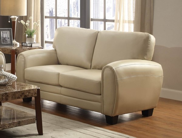 Rubin Retro Taupe Bonded Leather Loveseat HE-9734TP-2