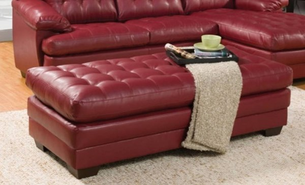Brooks Red Bonded Leather Wood Rectangle Ottoman HE-9739RED-4