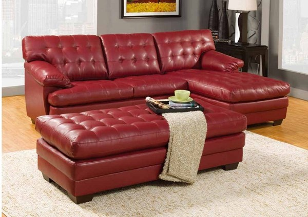 Brooks Red Bonded Leather Wood Left Side 2-Seater HE-9739RED-L