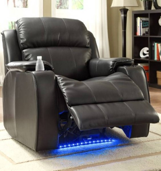 Jimmy Black Leather Power Reclining Chair w/Massage Led & Cup Cooler HE-9745BLK-1