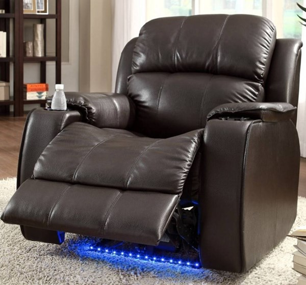 Jimmy Brown Leather Power Reclining Chair w/Massage Led & Cup Cooler HE-9745BRW-1
