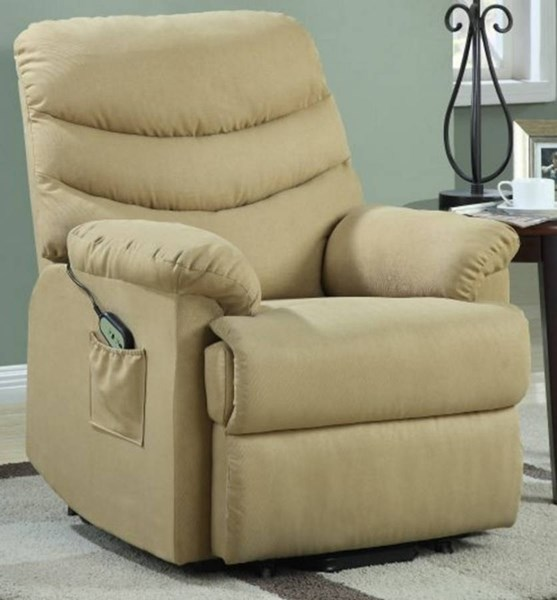 Elevated Tan Metal Microfiber Power Lift Chair HE-9769-1LT