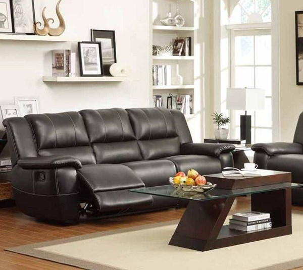 Cantrell Casual Black Bonded Leather Double Reclining Sofa HE-9778BLK-3