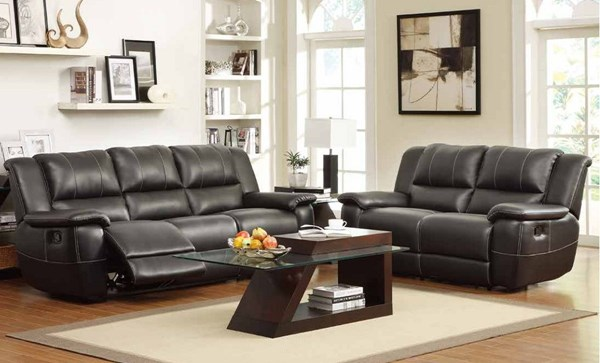 Cantrell Casual Black Bonded Leather Reclining Living Room Set HE-9778-LR