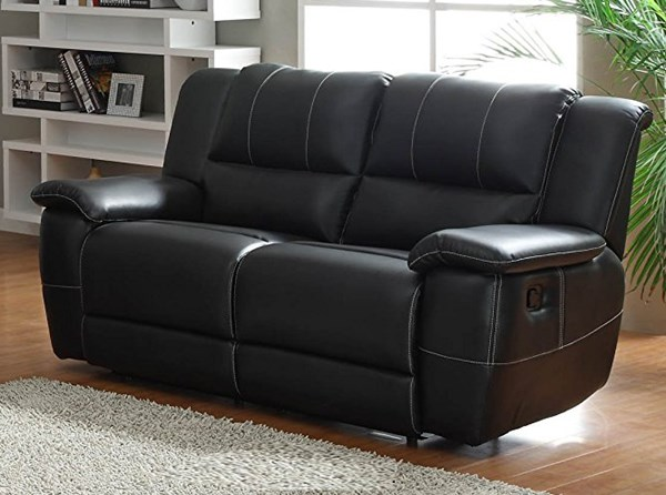 Cantrell Casual Black Bonded Leather Double Reclining Loveseat HE-9778BLK-2