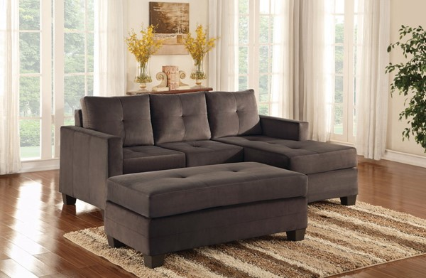 Home Elegance Phelps Chocolate Gray Sofa Chaise with Ottomans HE-9789-LR-S