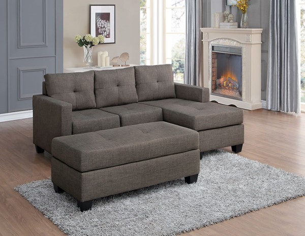 Home Elegance Phelps Brownish Gray Sofa Chaise with Ottoman HE-9789-LR-S2