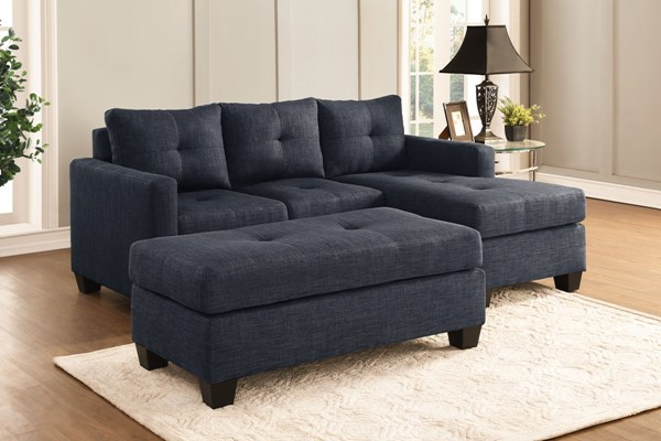 Home Elegance Phelps Dark Gray Sofa Chaise with Ottoman HE-9789-LR-S4