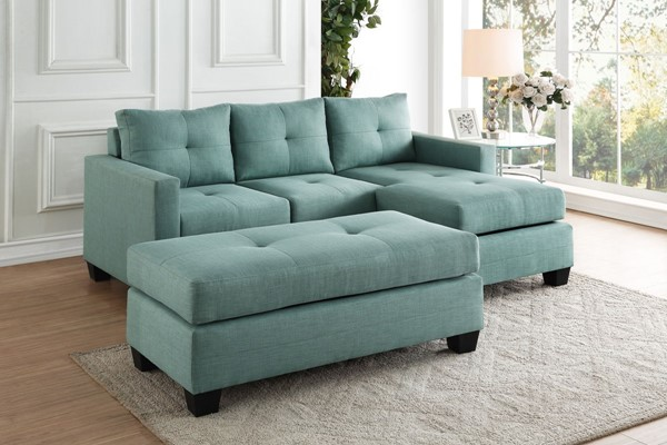 Home Elegance Phelps Teal Sofa Chaise with Ottoman HE-9789-LR-S5