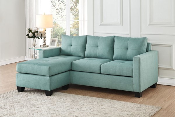 Home Elegance Phelps Teal Reversible Sofa Chaise HE-9789TL-3LC