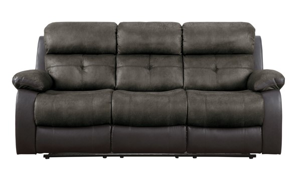 Home Elegance Acadia Brown Double Reclining Sofa HE-9801BR-3