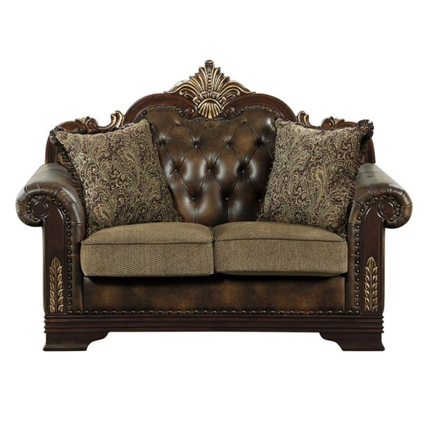 Home Elegance Croydon Rich Cherry Brown Loveseat with Two Pillows HE-9815-2
