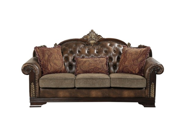 Home Elegance Croydon Rich Cherry Brown Sofa with Two Pillows HE-9815-3