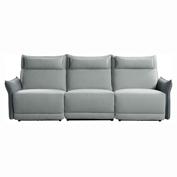 Home Elegance Linette Gray Power Double Reclining Sofa HE-9819GY-3PWH