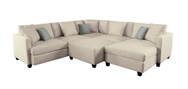 Home Elegance Southgate Beige 5pc Sectional Set HE-9823VR-5-SET
